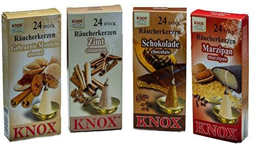 Knox 4er Räucherkerzen Set Weihnachtsbäcker - Marzipan + gebrannte Mandel + Zimt + Schokolade - Größe: M - 96 Stück - Made in Germany
