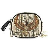 Alarge - Bolso bandolera de piel sintética egipcia con correa de cadena de metal ajustable y borla