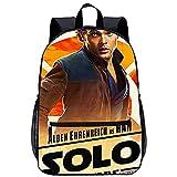 Mochila Infantil con 3D mochila escolar Ranger Solo: Una historia de Star Wars Han Solo Adecuado para: estudiantes de primaria y secundaria, la mejor opción para viajes al aire libre Tamaño: 45x30x