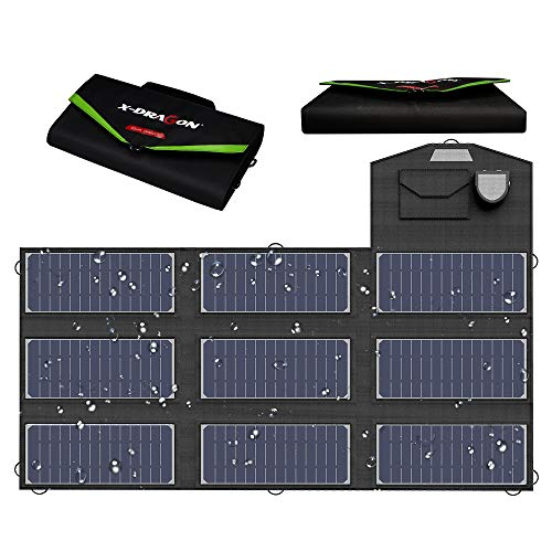 X-DRAGON Solar Charger, 70W Foldable Solar Panel Charger (5V USB with SolarIQ + 18V DC+ Parallel Port) Compatible with Notebook, Portable Generator, car Battery, Cellphone, Tablet, and More