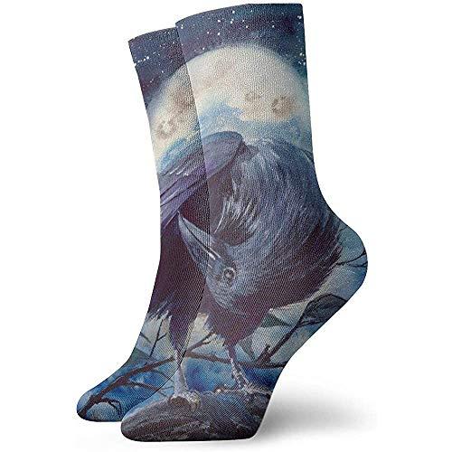 Dydan Tne Aquarelle Branche Rvaen avec Shining Moon Outdoor Leisure Crew Socks Boot Cushion Socks