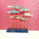 scultura moderna banco di pesci azzurri, in carta fantasia e spago animato kraft, base legno