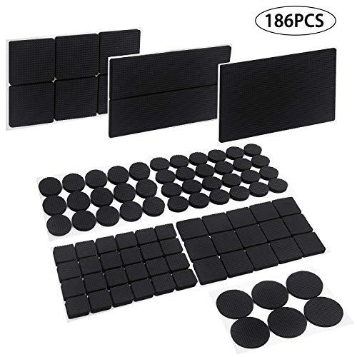NYKKOLA Selbstklebende Anti-Rutsch-Möbel-Pads, 186 Stück Gummifüße für Stuhl-, Tischbeine, Filz-Bezüge zum Schutz von Holzböden
