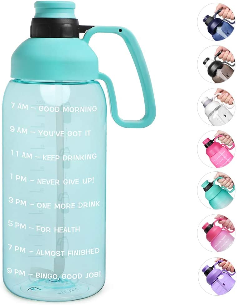 Opard 2 Litre Water Bottle with Time Markings /& Straw Half Gallon Motivational Large Water Jug with Handle Reusable BPA Free Tritan for Gym and Sports