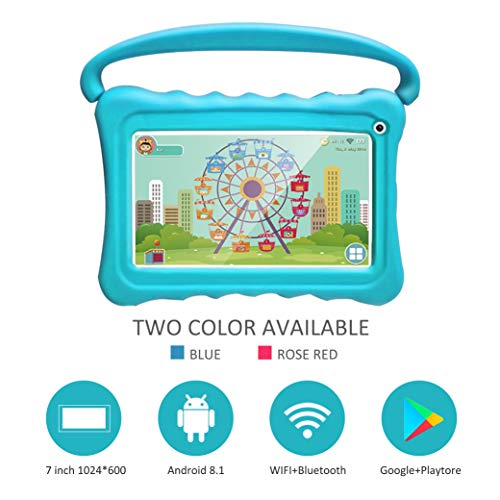 Kids Tablets pc 7 Android Kids Tablet for Kids Learning Tablet Quad Core with WiFi Dual Camera IPS Safety Eye Protection Screen 1GB 16GB Storage