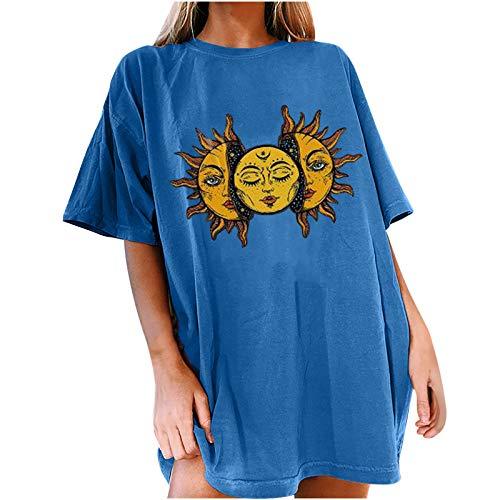 XOXSION Camiseta de verano para mujer, camiseta vintage con estampado de sol y luna, camisa informal de manga corta con cuello redondo A azul. XXL