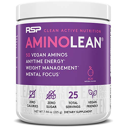 RSP Vegan AminoLean - All Natural Preworkout with Vegan BCAAs, All-In-One Amino Energy, Weight Management, Recovery, and Focus, 25 Serv, Acai