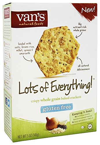 Van's Natural Foods, Baked Crackers, Crispy Whole Grain, Lots of Everything! Gluten Free, 5oz Box (Pack of 4)