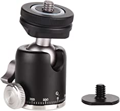 """Camera Tripod Ball Head with Hot Shoe Mount - Metal Panoramic Ballhead 360° Pan 90° Tilt Tripod Mount with 1/4"""" Screw and Cold Shoe Mount Adapter for DSLR Camera/Light Stand/Gopro/Video Camcorder"""