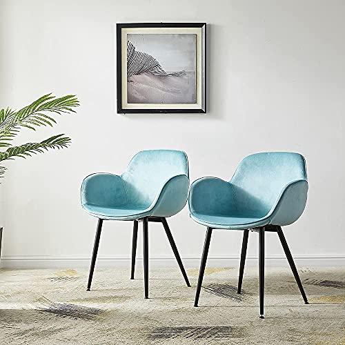LeChamp 2er Set Samt Esszimmerstuhl gelegentlicher Sessel mit Armlehnen & Rückenlehne Freizeitstuhl für Küche Lounge Schlafzimmer Wohnzimmer Akzentsessel Wannenstuhl mit gepolstertem weichen Sitz Grün