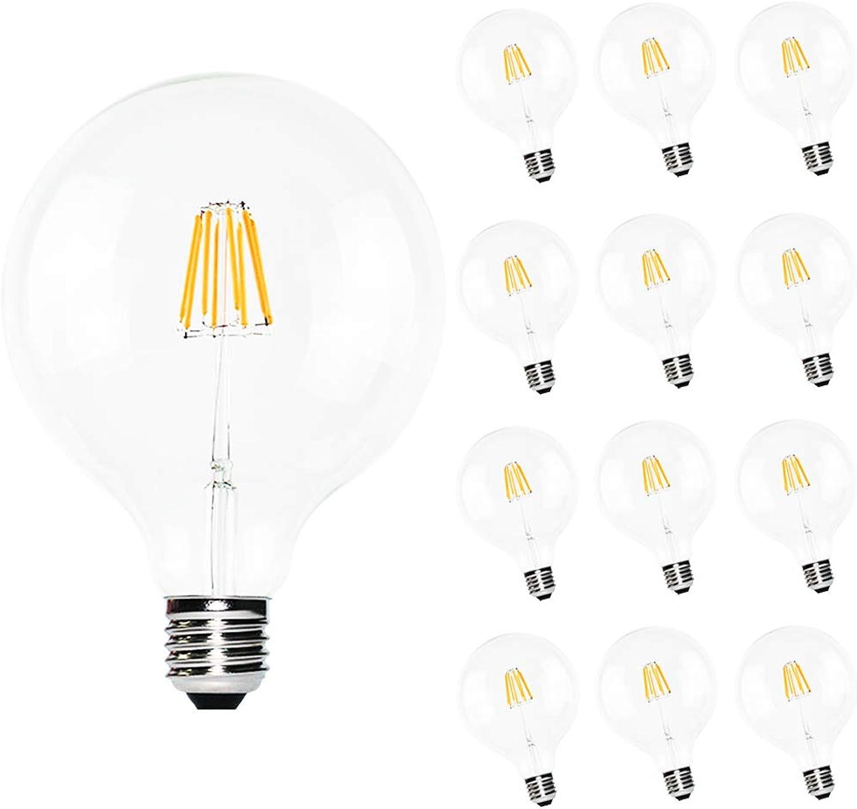 12 Stück G125 LED Lampe 8W (ersetzt 60W) Vintage Glühbirne, Sockel E27, 220V Filament LED Bulb, Dimmbar Warmwei 2200k Glas Birne Durchmesser 125mm