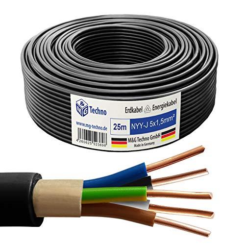 M&G Techno 25m NYY-J 5x1,5 mm² Erdkabel Elektro Strom Kabel Kupfer eindrähtig Made in Germany