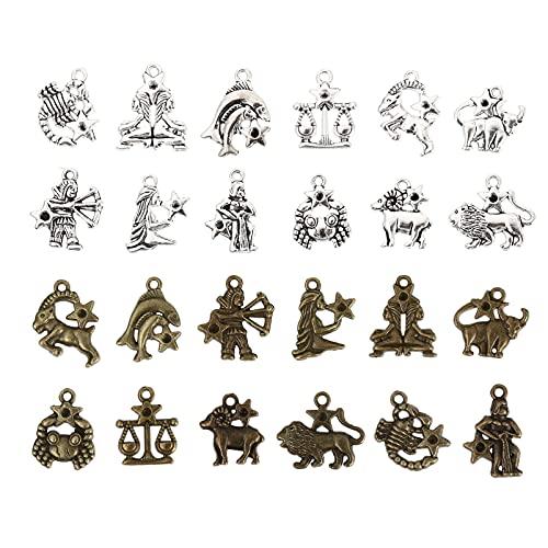 EXCEART Antiguo 12 Signos Del Zodiaco 12 Constelación Símbolo Bronce Amuleto de La Suerte Colgante para Diy Collar Pulsera Accesorios para Hacer Joyas