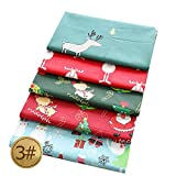 Muster Baumwollstoff Stoffpakete,5 Stück Weihnachtsblumen Patchwork, DIY Nähen Bastelstoff-3_50 * 50,Baumwolltuch mit vielfältiges Muster zum nähen