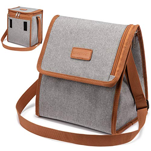 LOVEVOOK Lunch Bags Insulated Cooler Lunch Box with Expandable Capacity  Adjustable Shoulder Strap for Women Men Picnic Office Camping School  Grey