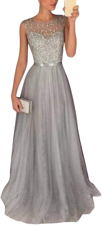 Tomwell Damen Elegant Langes Abendkleid Festliche Kleider Cocktailkleid Chiffon Faltenrock Kleid Amazon De Bekleidung