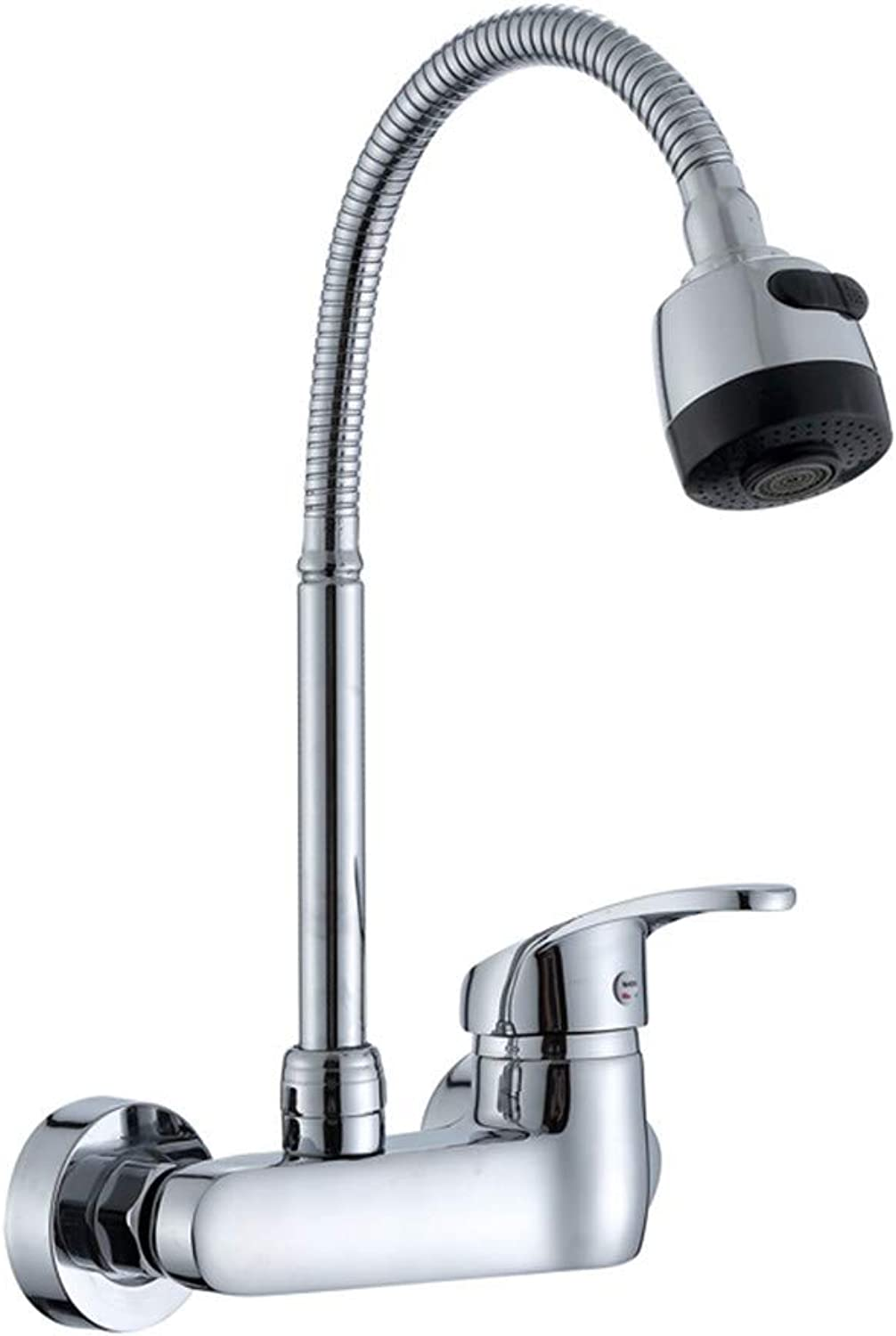 YAWEDA Wall Mounted Kitchen Faucet Single Handle Kitchen Mixer Taps Dual Holes Hot and Cold Water Tap 360 Degree redation Torneira Cozinha