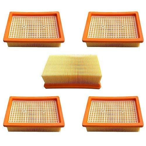AM 5x Flachfalten Filter für Staubsauger Saugroboter Mehrzwecksauger Kärcher MV4, MV5, MV6, WD4, WD5, WD6 Flachfaltenfilter Ersetzt 2.863-005.0