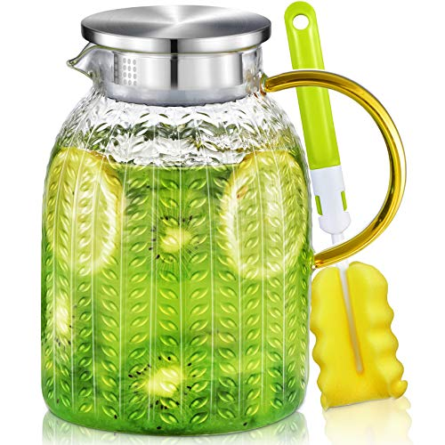 Jarra Agua Cristal, Aofmee Botella Agua Cristal 1.8 Litro con Cepillo, Jarra Agua Con Tapa de Acero Inoxidable, Jarra para Agua, Té, Zumo, Leche y Sangria, bebidas frías y calientes