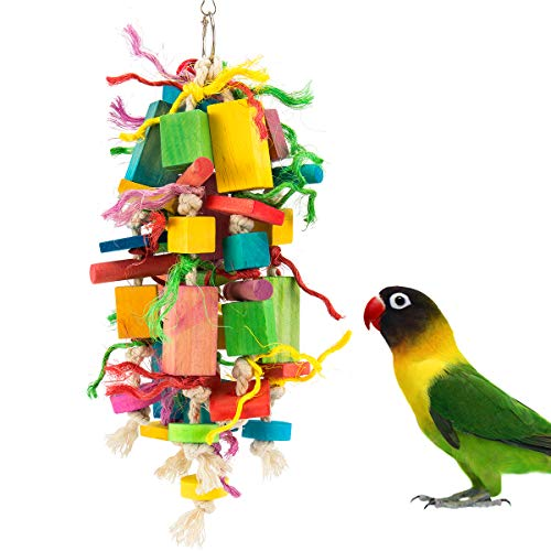 MEWTOGO Medium Bird Parrot Toys - Multicolored Wooden Blocks Tearing Toys for Conures Cockatiels African Grey Foraging and Amazon Parrot Toys