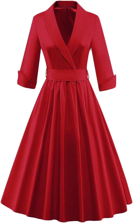 Frieed Women Wrap V Neck 3 4 Sleeve Vintage 1950s Pleated Swing Dress with Belt