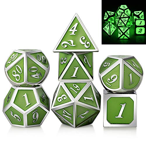 DNDND Glow in The Dark Metal Dice Set,Glowing DND Green Metal Dice for Roleplaying D&D Dungeons and Dragons RPGs and Other Table Games