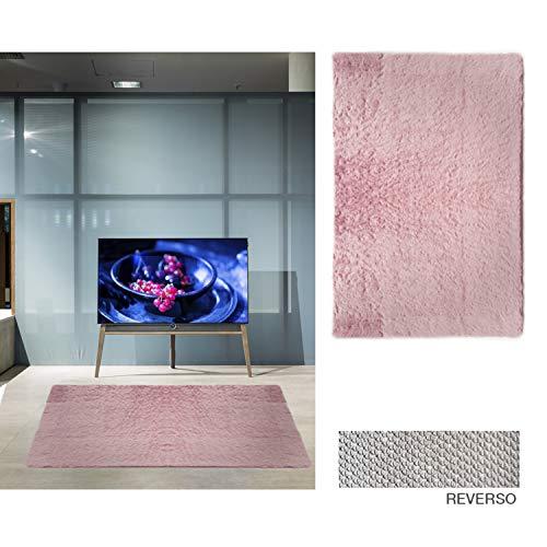 Comercial Candela Alfombra de Salón Gran Tamaño - Pelo Largo Alfombra de Salon y Dormitorio, Suave y Moderna Rosa 75x155
