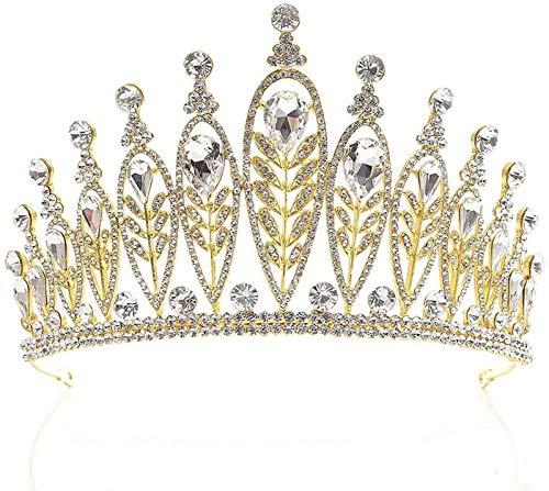 Auoeer Kronen Tiaras Königin Tiara Crown Strass Bridal Tiara Princess Tiara Crown Geburtstagskrone Für Frauen Schmuck Schönheitswettbewerb Mädchen (Farbe : Gold, Größe : 16x9.5cm)