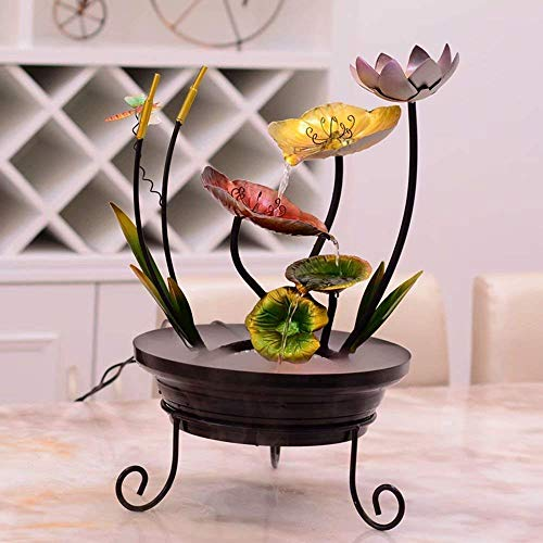 NBVCX Home Decoration Furniture Creations Calla Lily Flower Floral Outdoor Garden Water Fountain Wrought Iron Indoor Fountain Water Features Humidifier Decoration Crafts and Office