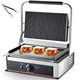 DESENNIE 110V Commercial Panini Grill, Up Grooved + Down Flat Plates, 14x9-inch Non-Stick Sandwich Panini Press Grill 122°F-572°F Temp Control, 2200W Electric Contact Grill for Egg Steaks Bacon Vegetables