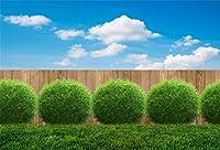 Qinunipoto イースターエッグ 写真撮影用 イースター 背景布 撮影 背景 布 草原 緑の植物 木の板 青い空 白い雲 写真 卵 撮影用 人物撮影 雰囲気 スタジオ ライブルーム 自宅用 ポリエステル 洗濯可 1.5x1m