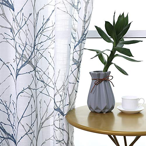 "Fmfunctex Print Blue White Semi-Sheer Curtain Panels for Bedroom 63"" Grey Tree Branch Printing on Linen Textured Window Treatment Set for Living Room Draperies 50""w 2-Pack"