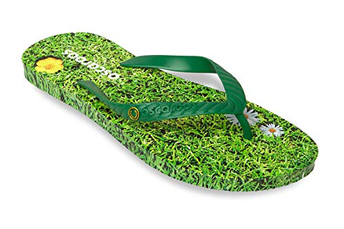 Oscaroos Flip Flops Gras Print mit grünen Riemen Mens Womens Mädchen Jungen Unisex Design Strand Pool Sommerferien am Meer EU 35.5/37