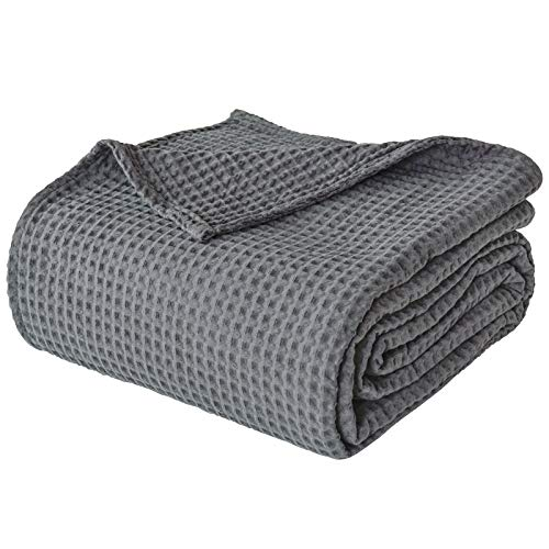 PHF 100% Cotton Waffle Weave Blanket King Size 108'x90' - Pre-Washed Soft Lightweight Breathable...