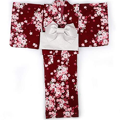 LJLis Japanisch Kimono Robe Yukata Schlafanzug Roten kleine Kirschblüte Kimono voller Satz,Kimono+Belt