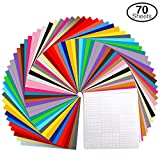 Permanent Adhesive Backed Vinyl Set by Ohuhu, 60 Vinyl Sheets + 10 Transfer Tape Sheets, 30 Assorted Colors...