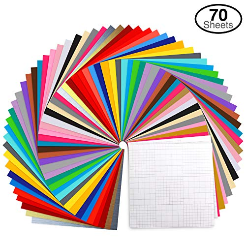 "Vinyl Sheets, Ohuhu 70 Permanent Adhesive Backed Vinyl Sheets Set, 60 Vinyl Sheets 12"" x 12"" + 10 Transfer Tape Sheets, 30 Color Sheet for Birthday Party Decoration, Sticker, Craft Cutter, Car Decal"