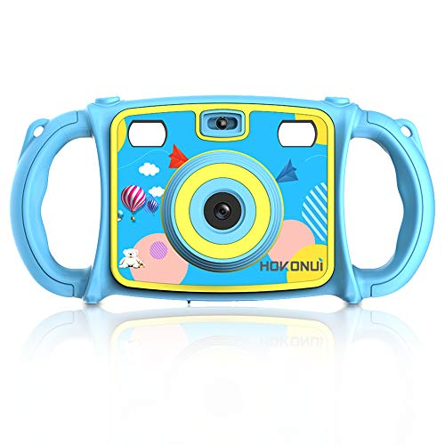 HOKONUI Kids Camera, Digital Action Camera Camcorder with 1080P HD Video Recorder Non-Slip and Anti-Drop Design for Boys Girls Includes 16GB Memory Card (Blue)