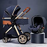 3 en 1 cochecito de bebé para recién nacidos y niños pequeños, abanicos de choque plegable carro de bebé, cochecito de cochecito con marco de aluminio Mamá, cubierta de lluvia, cesta de almacenamiento
