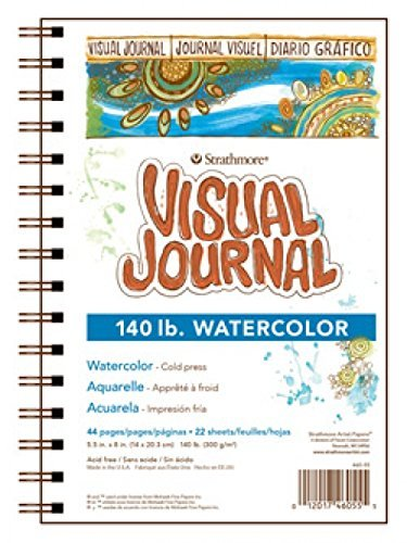 Strathmore 400 Series Visual Watercolor Journal, 140 LB 5.5'x8' Cold Press, Wire Bound, 22 Sheets - 2-Pack