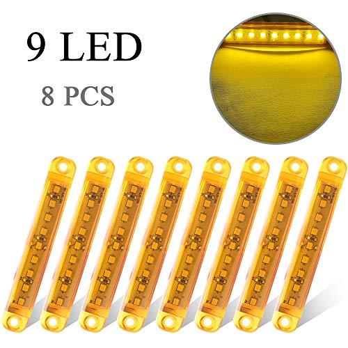 8 Unids Amarillo 12-24V LED Luz de Marcador Lateral 9 LED Camión Remolque Camión Caravana Luz Delantera y Trasera Luz de Posición de Luz de Marcador Lateral 3.9' Luz de Advertencia