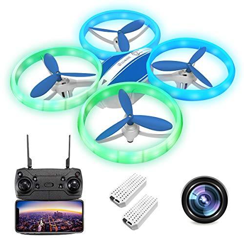 EACHINE E65HW Drohne mit Kamera 1080P Live Übertragung FPV, Kopflos Modus,Flugbahn,Automatisch Abheben/Landen/Rückkehren,360° Rollen,Nachtflug mit LED Lichter, RC Quadrocopter Anfänger(2AKKU)