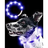 Qbit LED 犬光る首輪 【視認距離400mで夜間も安心】 犬 猫 光る 首輪 ライト 夜 散歩USB 充電式 小型犬 中型犬 大型犬 サイズ調節可能 ブルー