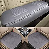 Car Seat Cushion, 2PC Front Car Seat Pad + 1PC Rear Car Seat Cover Universal Four Season Breathable Car Interior Seat Cover for Auto Supplies with PU Leather(Gray)