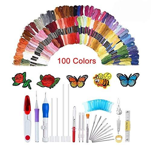 Set con 138pezzi per ricamare, con penna con ago magico da ricamo, set di penne da ricamo, 100fili colorati, per lavori di cucito fai da te, maglieria