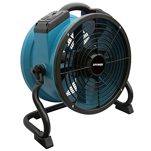 XPOWER X-34AR Variable Speed Sealed Motor Industrial Axial Air Mover, Blower, Fan with Built-in Power Outlets, Blue