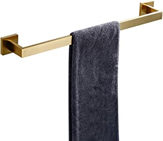 WOLIBEER Single Towel Bar Towel Rail Holder 23.6inch, Stainless Steel Antique Brushed Gold Wall Mounted for Bathroom