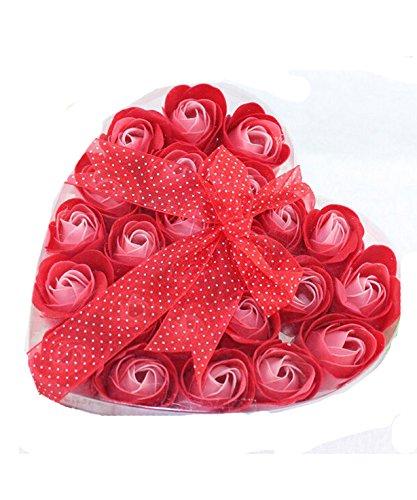 DAYAN Bath bébé Red Flower Savon Rose Petal 24 Pcs dans Heart Box