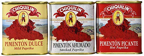 Chiquilin Mild, Smoked and Hot Spanish Paprika Set (Pack of 3)