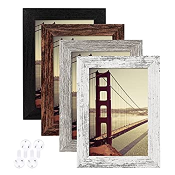 4x6 Picture Frame Distressed Farmhouse Wood Pattern Set of 4 with Tempered Glass,Display Pictures 3.5x5 with Mat or 4x6 Without Mat Horizontal and Vertical Formats for Wall and Table Mounting